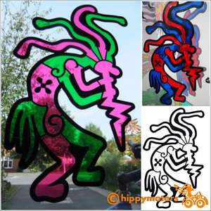 Kokopelli window decal sticker with stained glass look
