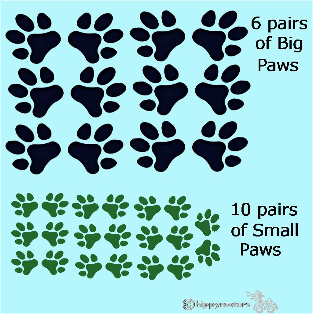 multi pack pawprint car stickers by hippy motors