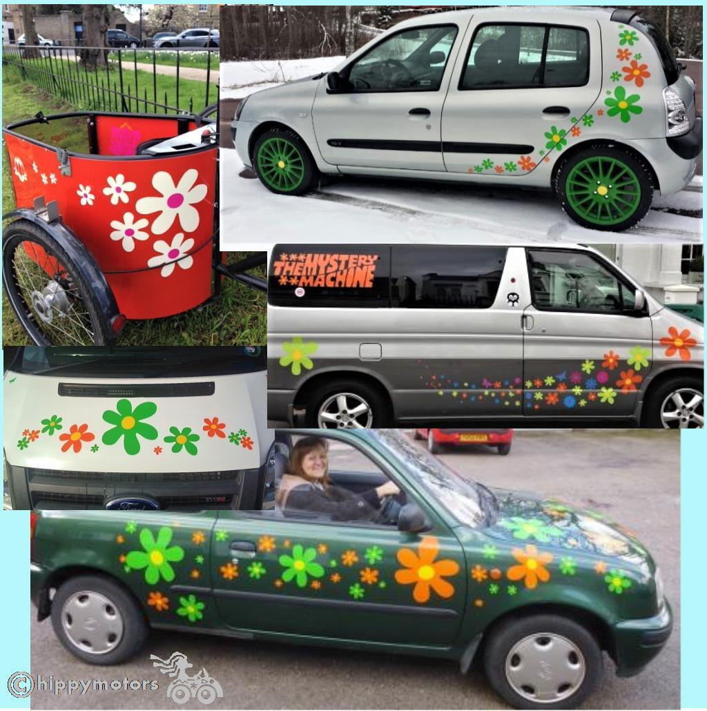 big vinyl fun flowers stickers on a cart car people carrier