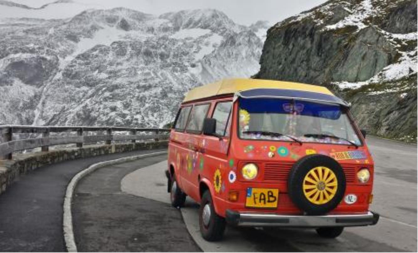 VW hippy camper van in Norway with vinyl stickers