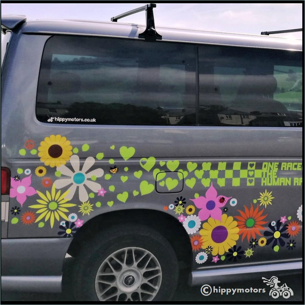 big daisy flower stickers on Bongo camper van