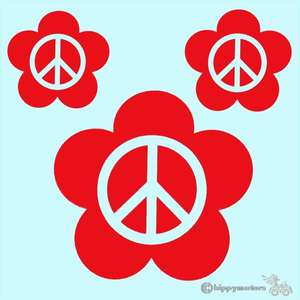 Flower vinyl decals with peace CND symbols
