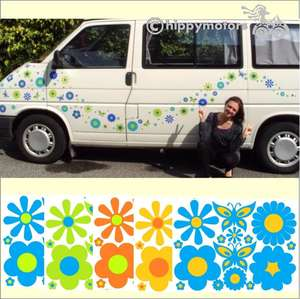 large pack of flower and butterfly vinyl decals for vehicles