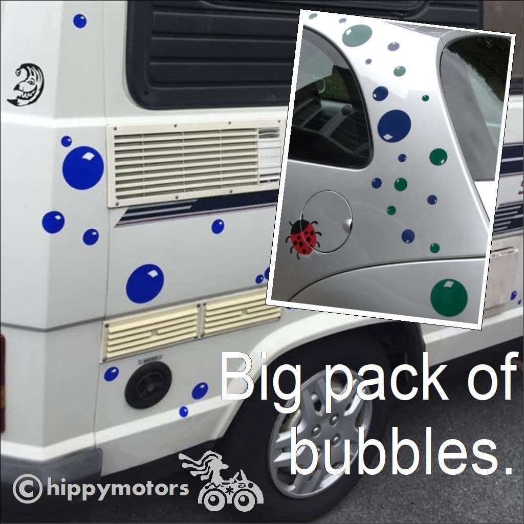 pack of bubble decals on car and van