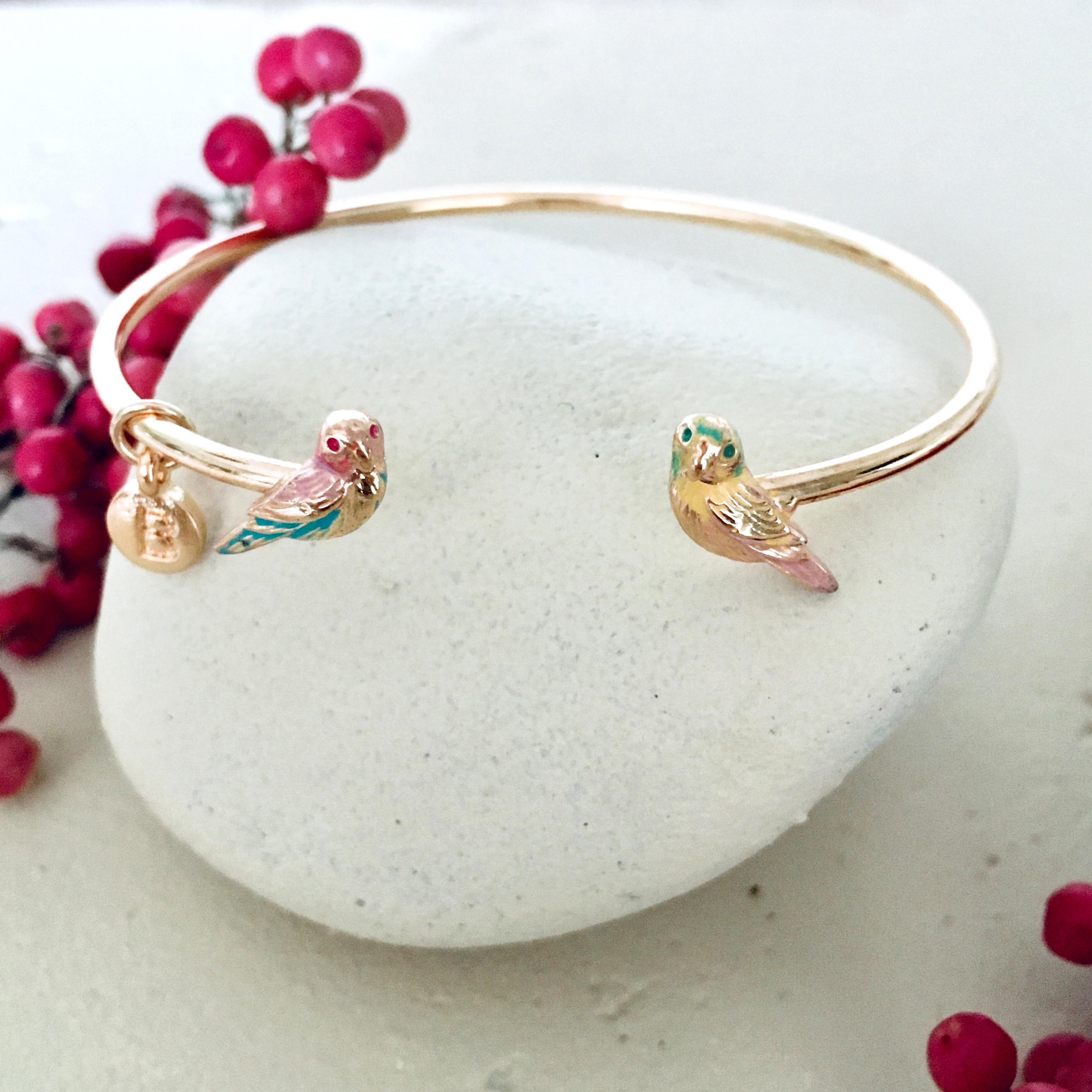 Menagerie - Enamelled Love Bird Bangle