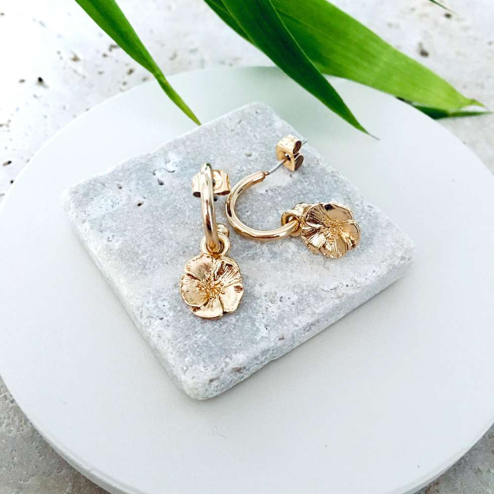 Menagerie - Gold Camellia Hoop Earrings