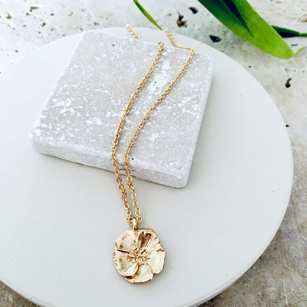 Menagerie - Gold Short Camellia Pendant