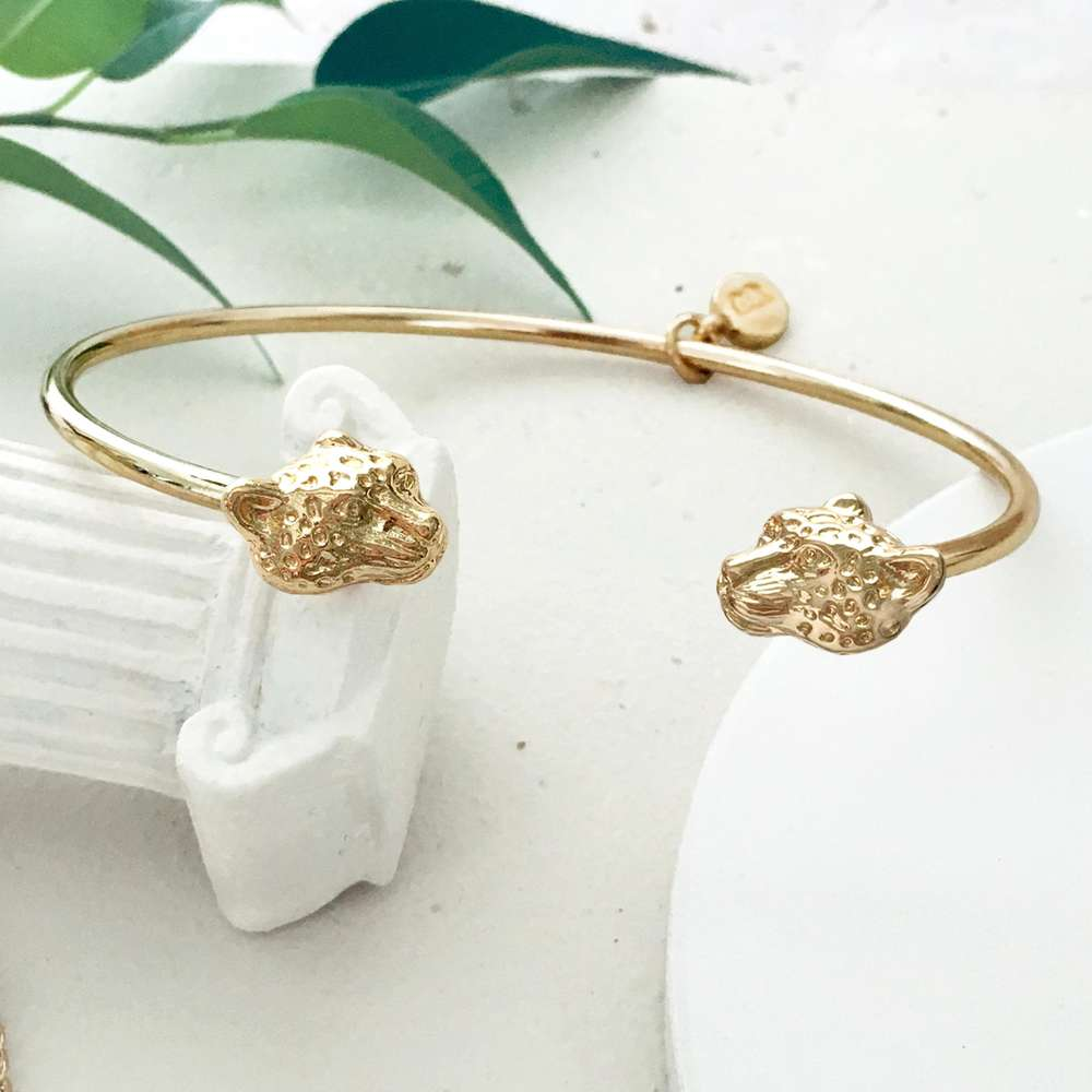 Menagerie - Gold Snow Leopard Bangle