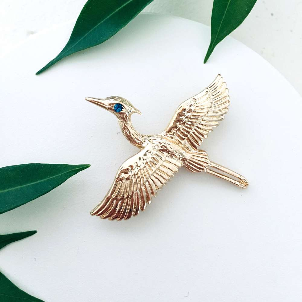 Menagerie - Gold Heron Brooch