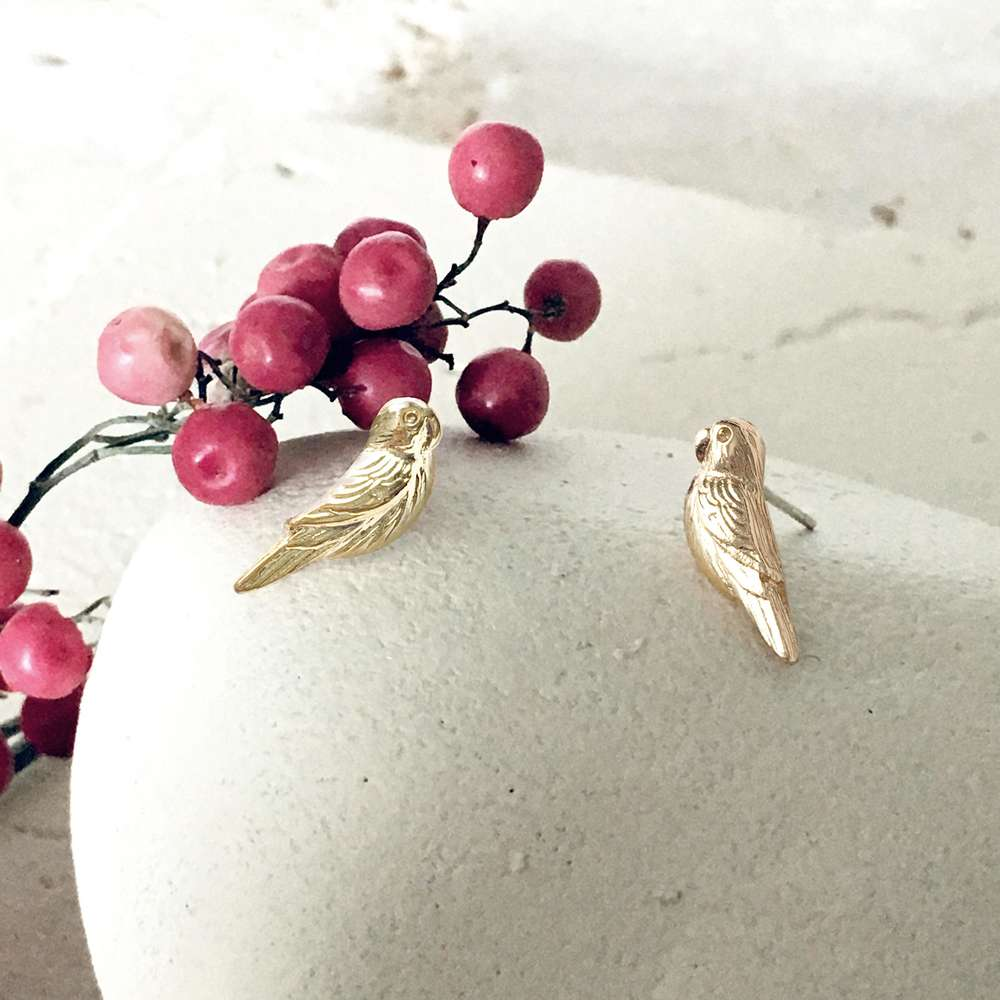 Menagerie - Gold Love Bird Stud Earrings