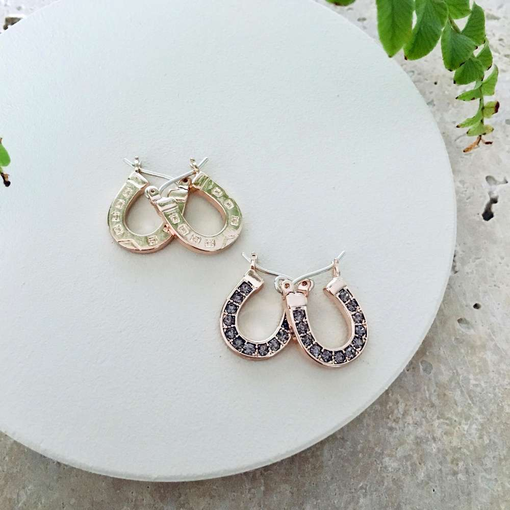 Menagerie - Rose Gold Lucky Horseshoe Hoop Reversible Earrings