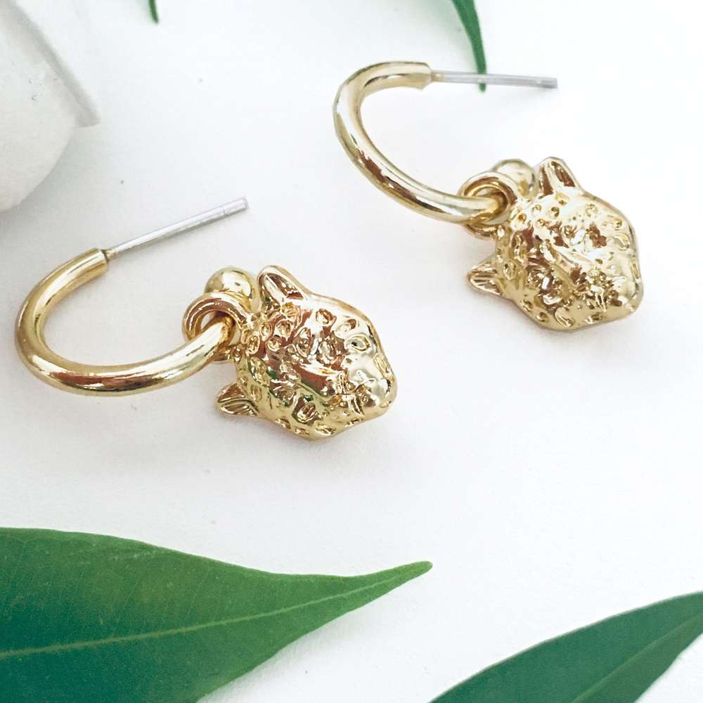 Menagerie - Gold Snow Leopard Hoop Earrings
