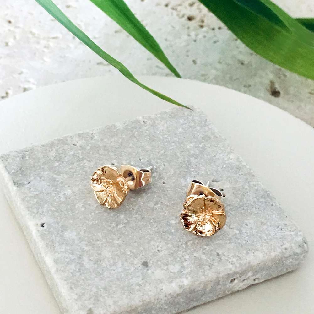 Menagerie - Gold Camellia Stud Earrings