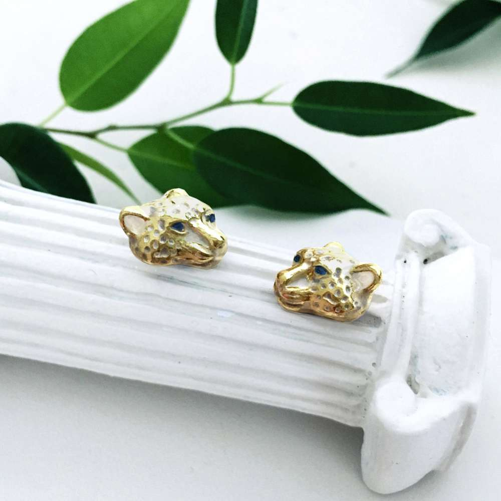 Menagerie - Enamelled Snow Leopard Stud Earrings