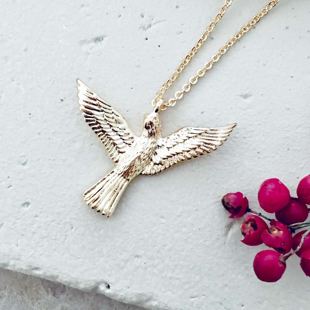 Menagerie - Gold Long Love Bird Pendant