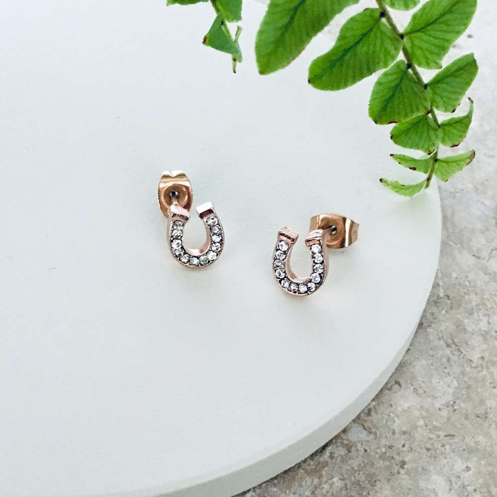 Menagerie - Rose Gold Lucky Horseshoe Pave Stud Earrings