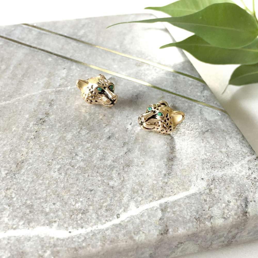 Menagerie - Enamelled Summer Leopard Stud Earrings
