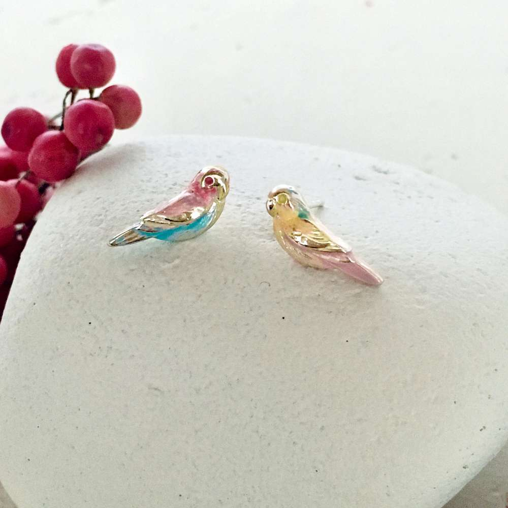 Menagerie - Enamelled Love Bird Stud Earrings