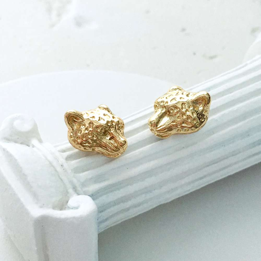 Menagerie - Gold Snow Leopard Stud Earrings
