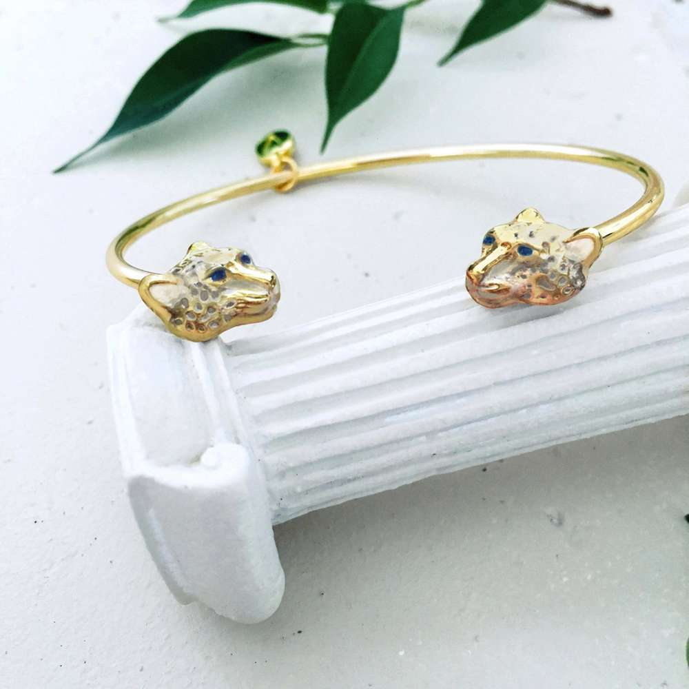 Menagerie - Enamelled Snow Leopard Bangle