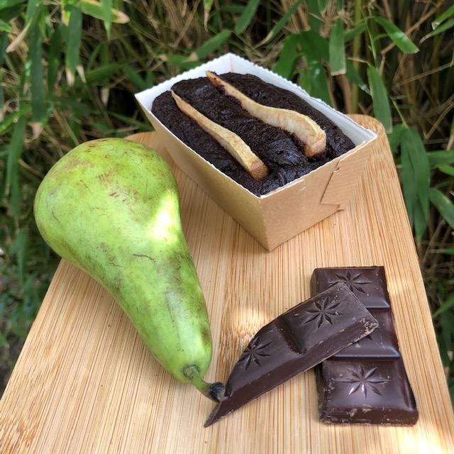 chocolate brownie with pear on natual background