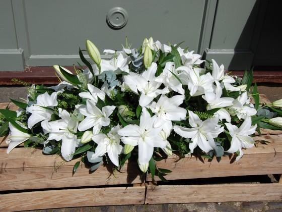 White Lily Casket Double Ended Spray