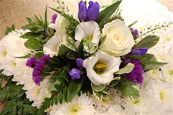 Blue and White Cushion Funeral Flowers