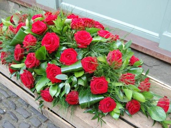 Red Rose Casket Double Ended Spray