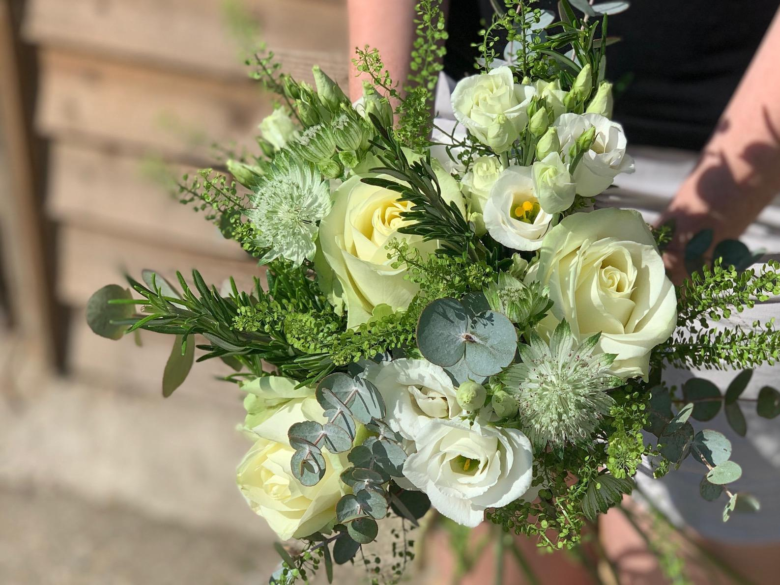 Bridesmaids White and Green Bouquet