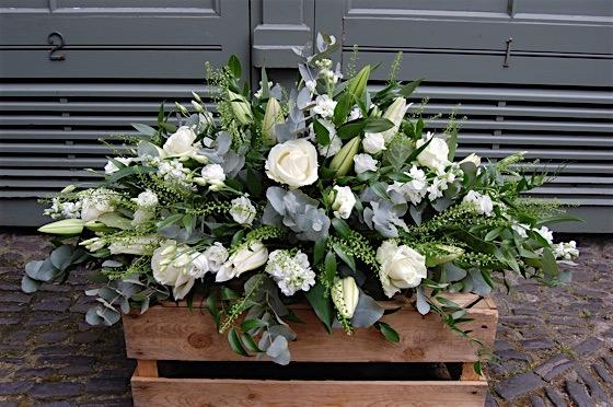 Classic White Casket - Double Ended Spray