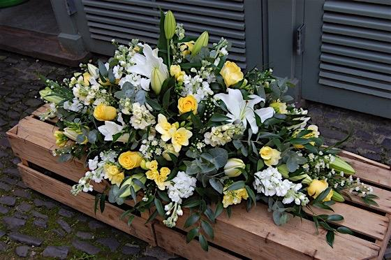 Yellow & White Casket Flowers Double Ended Spray
