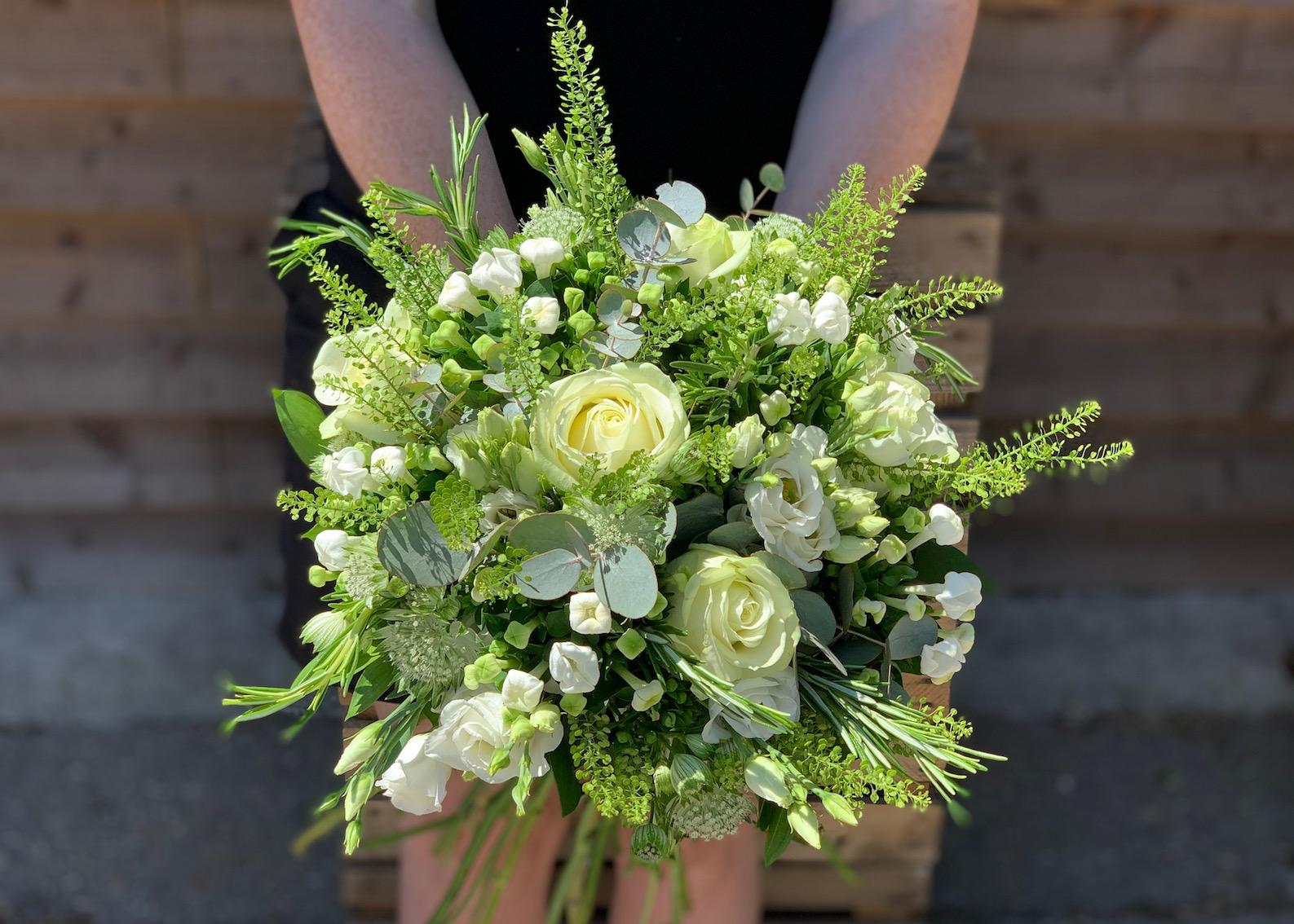 White and Green Bridal Bouquet