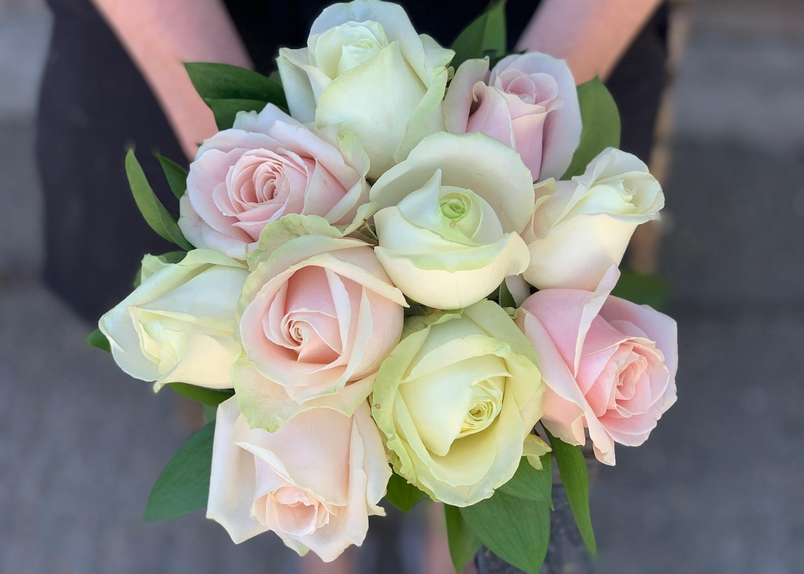 Bridesmaids Ivory & Pink Rose Bouquet