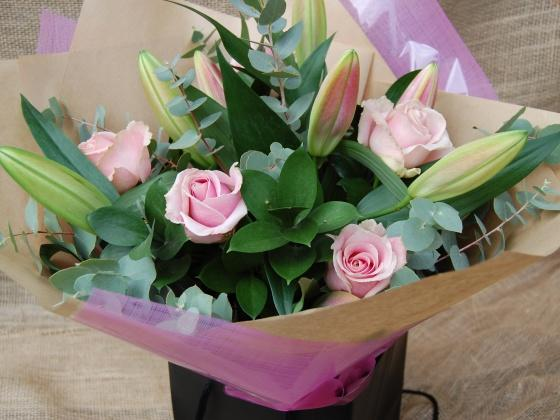 Pink Lily and Rose Bouquet