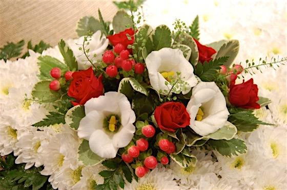 Red and White Cushion Funeral Flowers