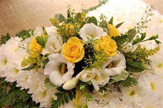 Yellow and White Cushion Funeral Flowers