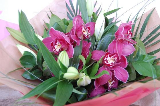 Red 'Love Orchid' and Scented Lily Bouquet