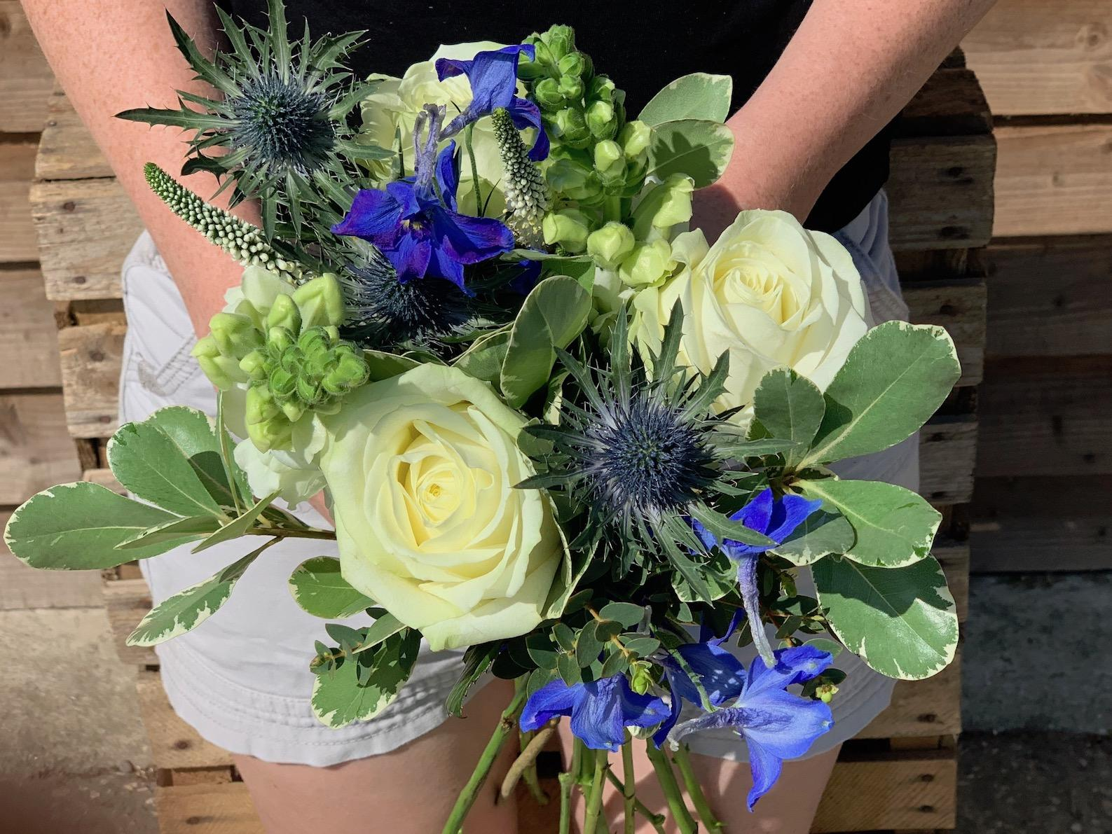 Bridesmaids Blue and White Bouquet