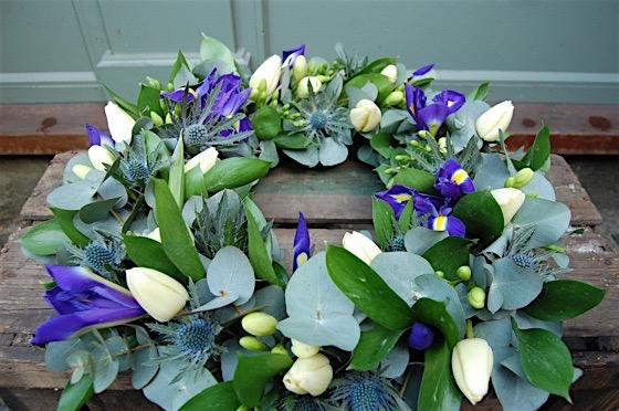 Cream and blue wreath