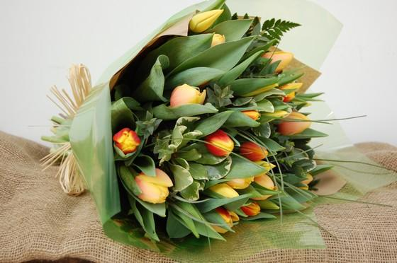Yellow & Orange Tulip Bouquet