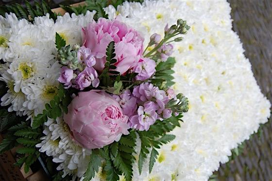 Bro pink & white floral tribute