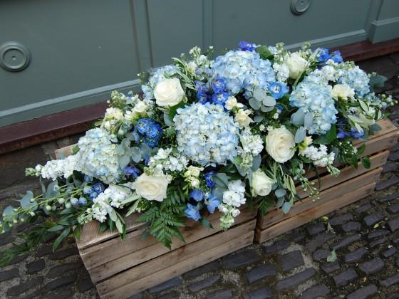 Blue & White Casket - Double Ended Spray