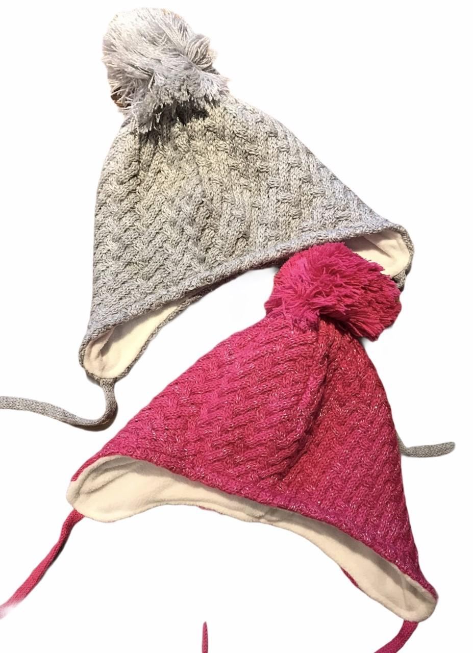 toddler pink and grey sparkle beanie hats