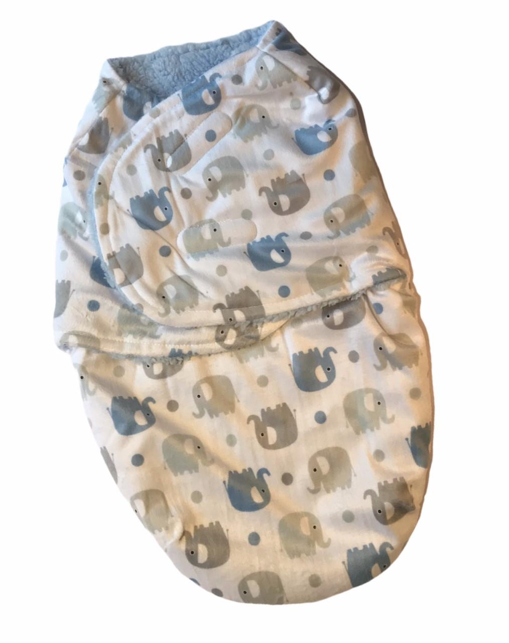 Baby Blue Elephant Fleece Swaddle Wrap