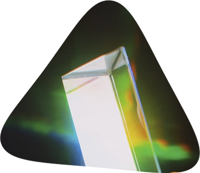 The refraction that occurs with a prism is similar to what happens with triangular translucent silk filaments