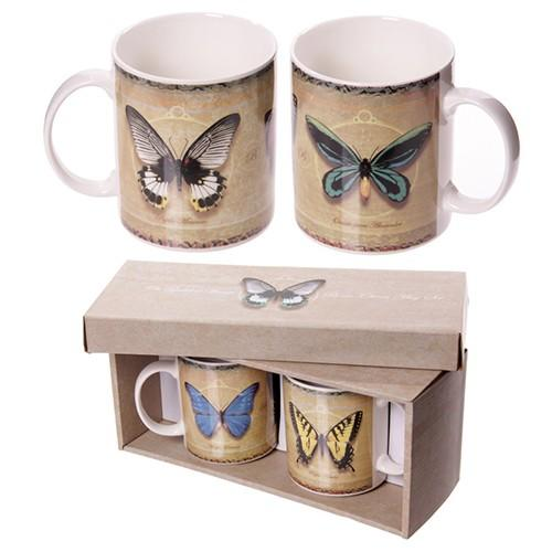 Butterfly Bone China Mug Double Gift Set