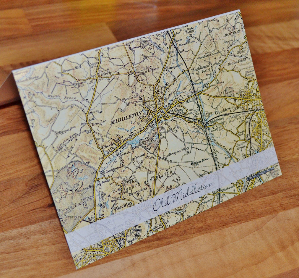 Old Middleton map (1896-1904) Greeting Card in Pack of Five