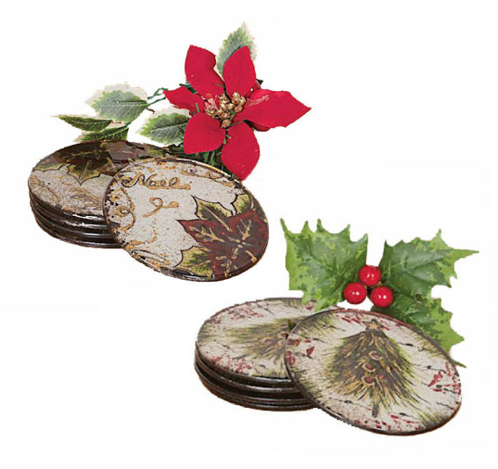 Glass Christmas Set of Four Coasters