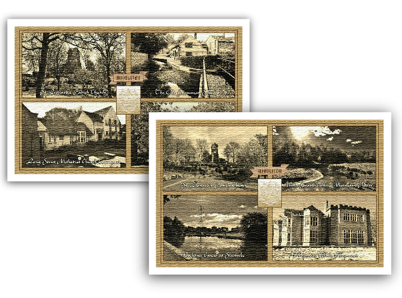 Middleton Scenes in Sepia Pack of 2 Tea Towels