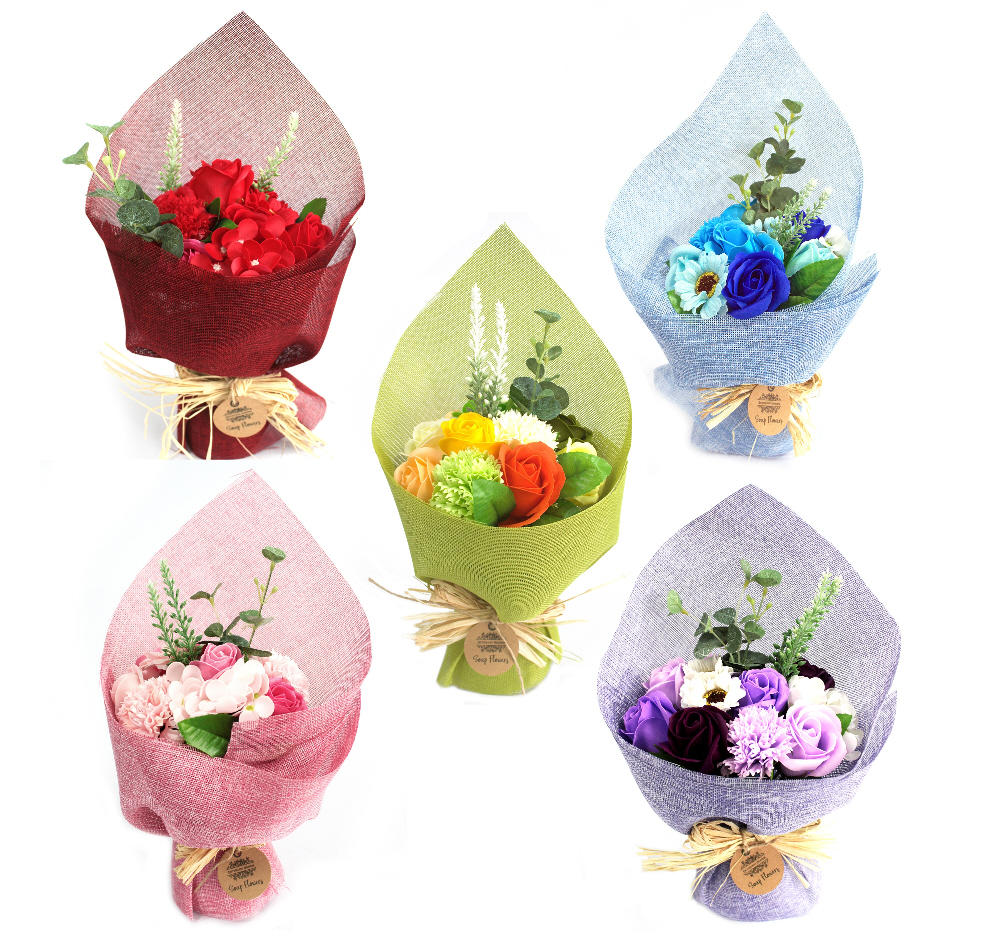 Standing soap flower bouquets